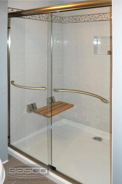Infinity Frameless Sliding Shower Door Bronze Clear